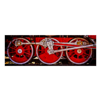 Vintage Steam Train Wheels Poster