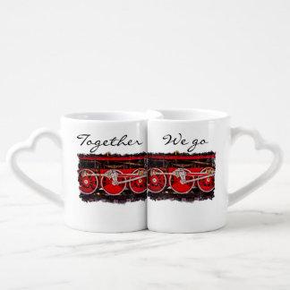 Vintage Steam Train Wheels Together We Go Coffee Mug Set