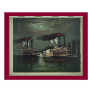 Vintage Steamboat On The Mississippi Lithograph Poster