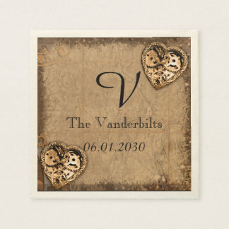 Vintage Steampunk Bride Monogram Wedding Napkin Paper Napkins