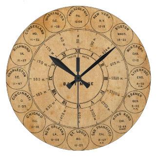 Vintage Steampunk City Postmarks World Wall Clock