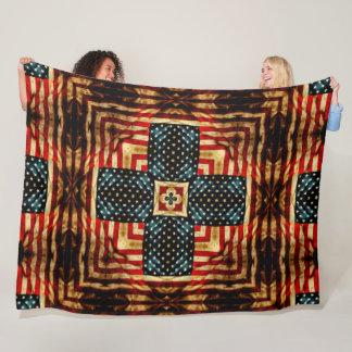 Vintage Steampunk Civil War American Flag Quilt Fleece Blanket