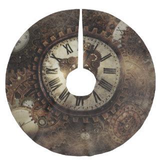 Vintage Steampunk Clocks Brushed Polyester Tree Skirt