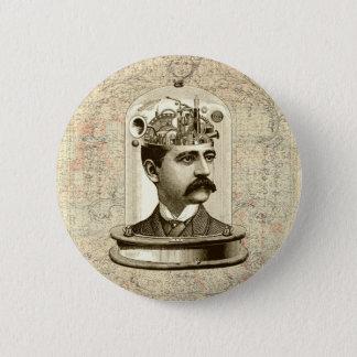 Vintage steampunk clockwork brain, moustache  man 2 inch round button