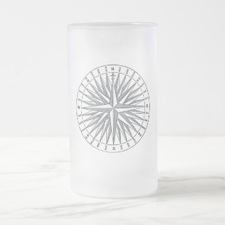 Vintage Steampunk Compass Rose Frosted Glass Beer Mug