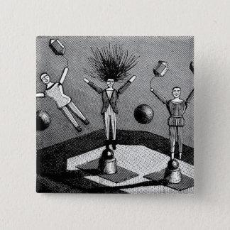Vintage Steampunk Dolls Peiffer Electrophorus 2 Inch Square Button