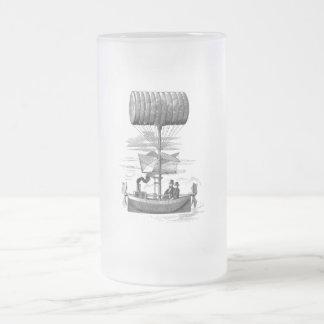 Vintage Steampunk Flying Machine Frosted Glass Beer Mug