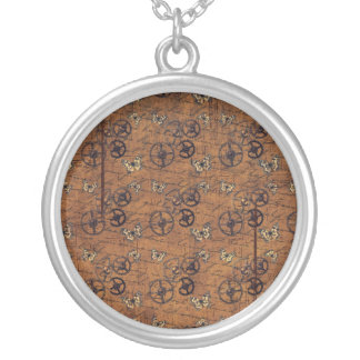 Vintage Steampunk Gears Wallpaper Silver Plated Necklace
