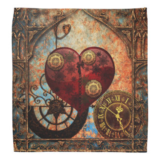 Vintage Steampunk Hearts Wallpaper Bandana