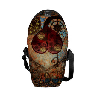 Vintage Steampunk Hearts Wallpaper Commuter Bag