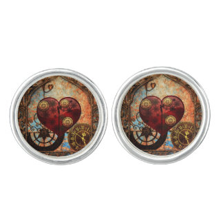 Vintage Steampunk Hearts Wallpaper Cuff Links