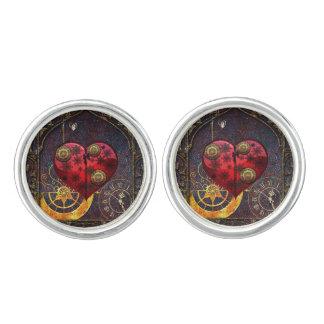 Vintage Steampunk Hearts Wallpaper Cufflinks