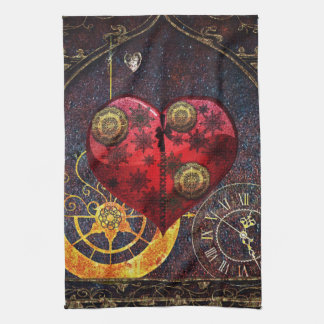 Vintage Steampunk Hearts Wallpaper Hand Towels