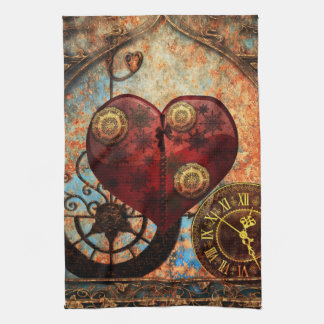 Vintage Steampunk Hearts Wallpaper Kitchen Towel
