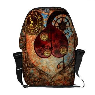 Vintage Steampunk Hearts Wallpaper Messenger Bag