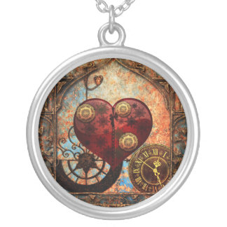 Vintage Steampunk Hearts Wallpaper Silver Plated Necklace