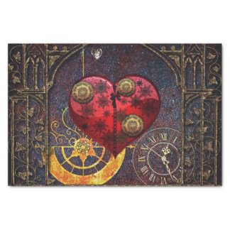 Vintage Steampunk Hearts Wallpaper Tissue Paper
