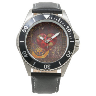 Vintage Steampunk Hearts Wallpaper Wristwatches