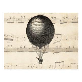 Vintage Steampunk Hot Air Balloon Airship Postcard