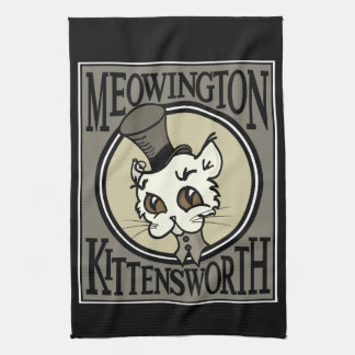 VINTAGE STEAMPUNK KITTY CAT GRAPHIC KITCHEN TOWEL