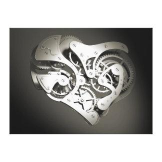 Vintage Steampunk Mechanical Heart - Platinum B&W Gallery Wrap Canvas