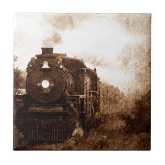 Vintage Steampunk Railroad Antique Steam Train Tile