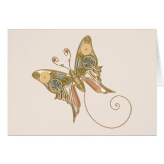 Vintage Steampunk Style Mechanical Butterfly Greeting Card