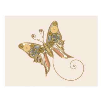 Vintage Steampunk Style Mechanical Butterfly Postcard