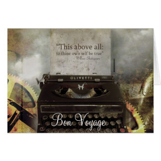 Vintage Steampunk Typewriter Bon Voyage Card