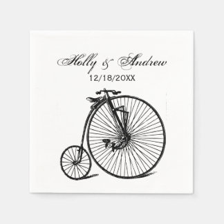 Vintage Steampunk Velocipede Bicycle Bike Disposable Napkin