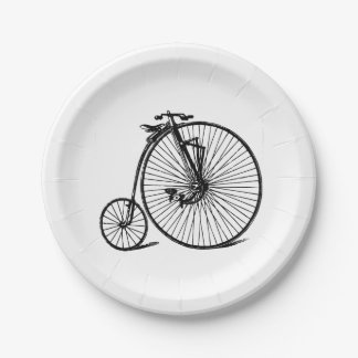 Vintage Steampunk Velocipede Bicycle Bike Paper Plate