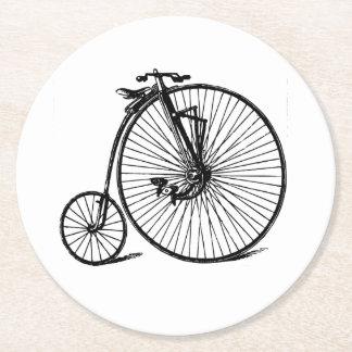 Vintage Steampunk Velocipede Bicycle Bike Round Paper Coaster