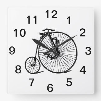Vintage Steampunk Velocipede Bicycle Bike Square Wall Clock