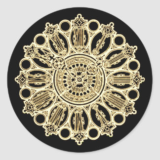 Vintage Steampunk Victorian Fancy Clock face Round Sticker