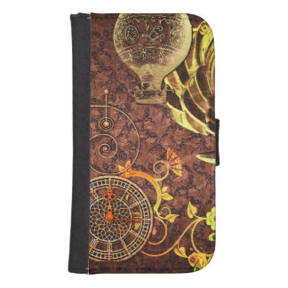 Vintage Steampunk Wallpaper Samsung S4 Wallet Case