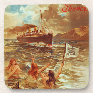 Vintage Steamship with Mermaids Coaster Set