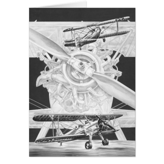 Vintage Stearman Biplane - Old Biwing Airplane Card