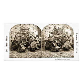 Vintage Stereoview - Christmas Eve by the Tree Customized Photo Card