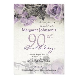 Vintage Sterling Silver Purple Rose 90th Birthday Invitation