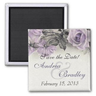 Vintage Sterling Silver Purple Rose Wedding Magnet