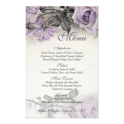 Vintage Sterling Silver Rose Wedding Menu Card Full Color Flyer