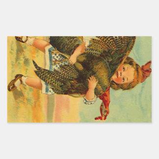 Vintage Sticker Thanksgiving Dinner Girl & Turkey