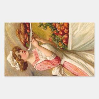 Vintage Sticker Thanksgiving Dinner Lady w/ Turkey