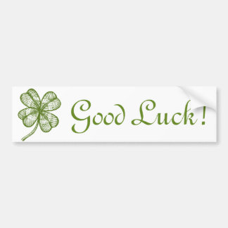 Vintage sticker with lucky four leaves clover. bumper sticker