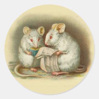 Vintage Stickers, Mice Classic Round Sticker