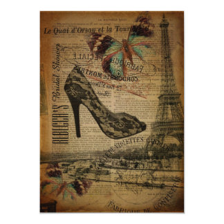 vintage Stiletto butterfly  paris bridal shower Card
