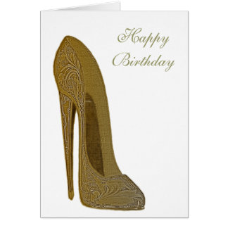 Vintage Stiletto High Heel Shoe Art Gifts Card