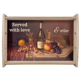 Vintage Still Life Wine Themed Serving Tray