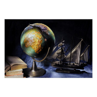 Vintage still life with globe poster