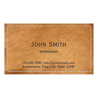 Vintage Stitched Leather Nutrition Double-Sided Standard Business Cards (Pack Of 100)